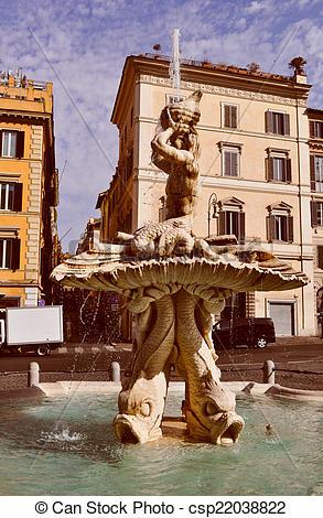 Stock Photo of Retro look Triton Fountain in Rome.