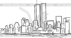 New York skyline with WTC Twin Towers.