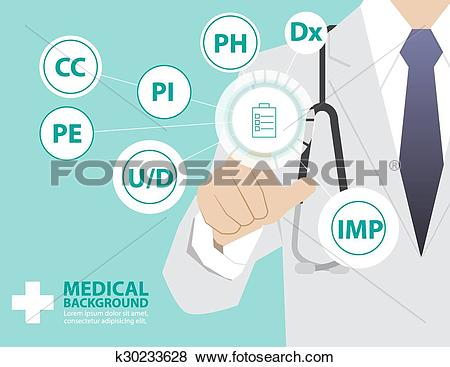 Clip Art of Medicine doctor working with virtual technology, hand.