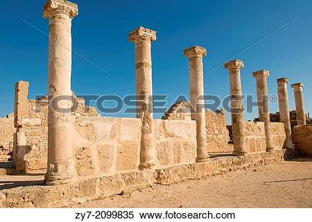 Stock Image of Ancient Columns in the Nea Paphos in Cyprus is.