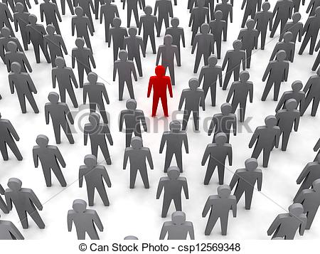 Drawing of Unique person in crowd. Concept 3D illustration.