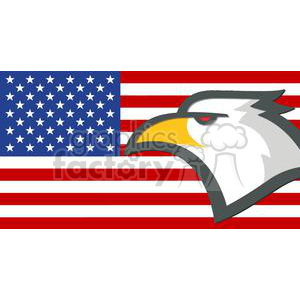 Eagle Head in front of the USA Flag clipart. Royalty.