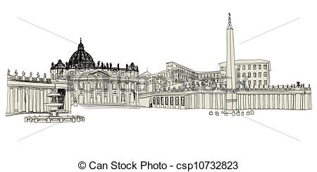 Vector Illustration of Vatican sketch hand drawn image. Vector.