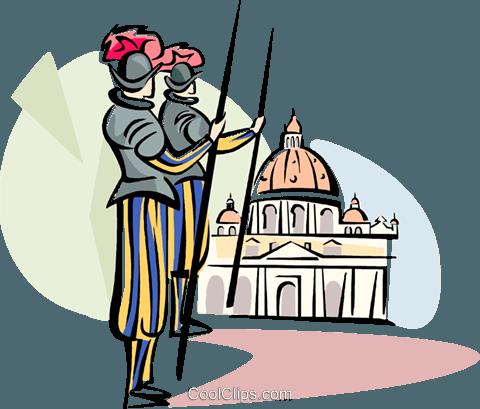 Vatican guards Royalty Free Vector Clip Art illustration.