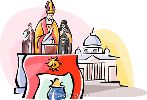 The Pope speaking at the Vatican Royalty Free Vector Clip Art.