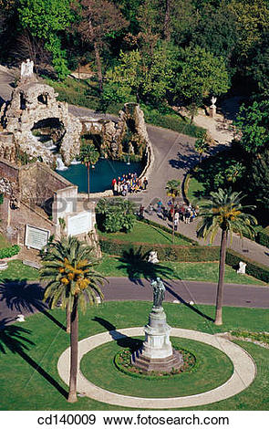 Stock Photograph of The Eagle Fountain. Vatican Gardens. Rome.