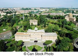 Stock Photo of Aerial view of Vatican Gardens from St Peter.