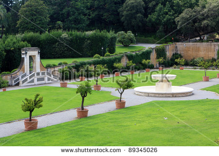 View Of The Vatican Gardens, Vatican City, Rome, Italy Stock Photo.