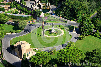 Aerial View Of Vatican Gardens From St Peter Basilica Stock Photo.