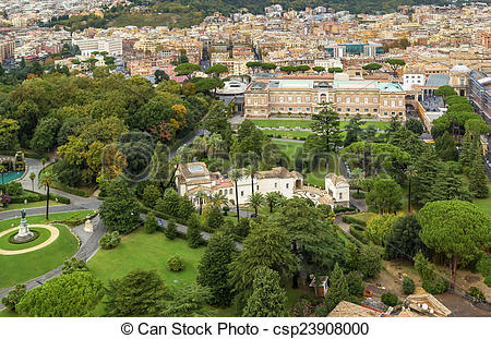 Stock Photography of Gardens of Vatican City.