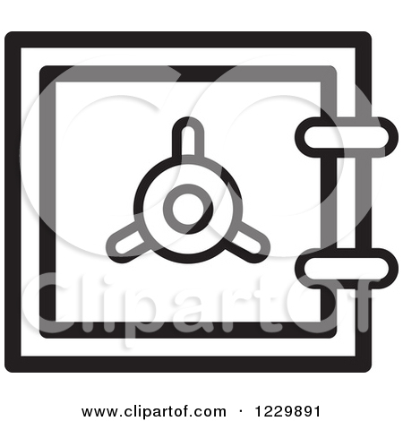 Clipart of a Gray Safe Vault Icon.