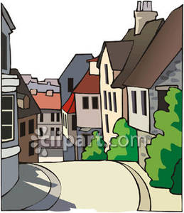 Village Street Lined with Houses Royalty Free Clipart Picture.