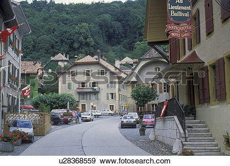 Stock Photograph of Switzerland, village, Vaud, Europe, Quiet main.