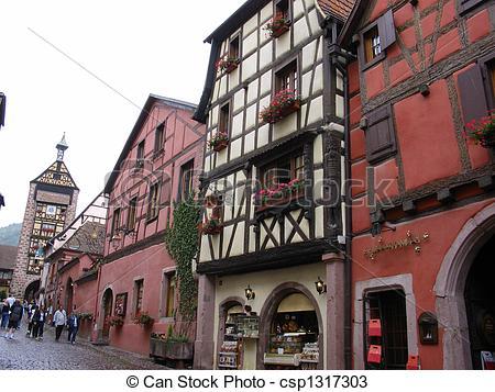 Stock Photos of Main street Village of Riquewihr.