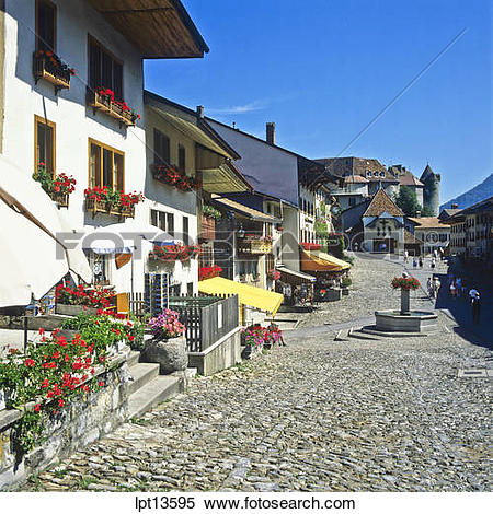 Stock Image of Main street, Gruyères village, canton Fribourg.