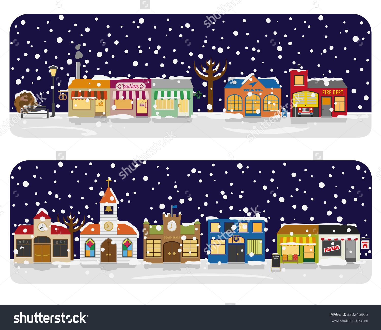 Winter Village Main Street Neighborhood Vector Illustration. Small.
