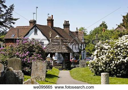 Stock Image of Main street in the village of Shere from the.