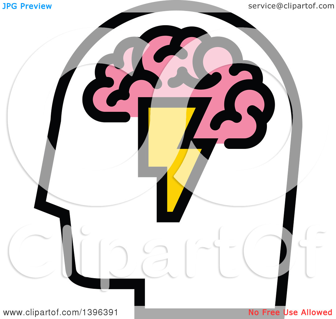 Clipart of a Man's Head with Visible Pink Brain and Lightning Bolt.