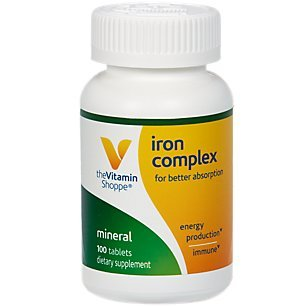 The Vitamin Shoppe Iron Complex, for Better Absorption, Supports Immune  Health Energy Production, Essential Mineral, Once Daily (100 Tablets).