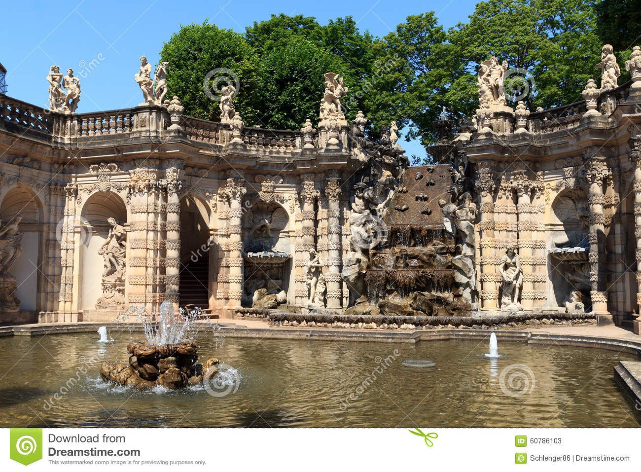 Water Garden Nymphenbad In Palace Zwinger, Dresden Stock Photo.