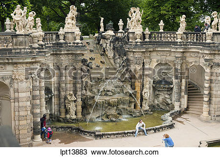 """Stock Photo of """"""""NYMPHENBAD"""""""" NYMPH BATH FOUNTAIN """"""""ZWINGER."""
