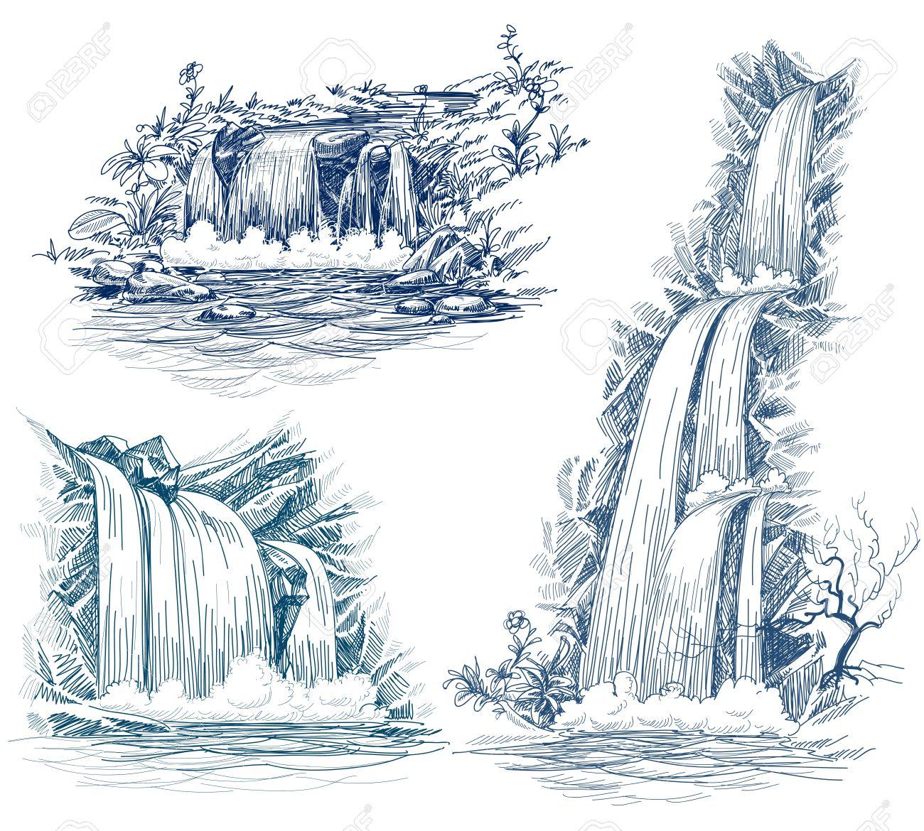 Water Falls Drawing Royalty Free Cliparts, Vectors, And Stock.