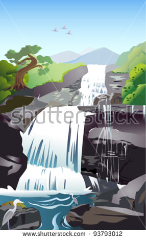 Water Cascade Stock Images, Royalty.