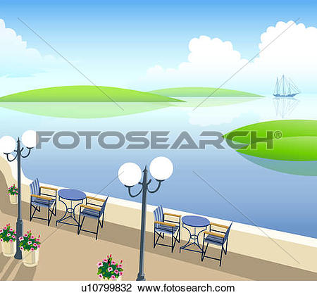 Clip Art of Restaurant at the waterfront u10799832.