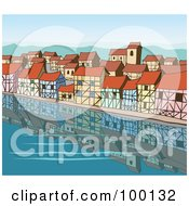 Clipart Illustration of Boats And People In The Harbor Near A.