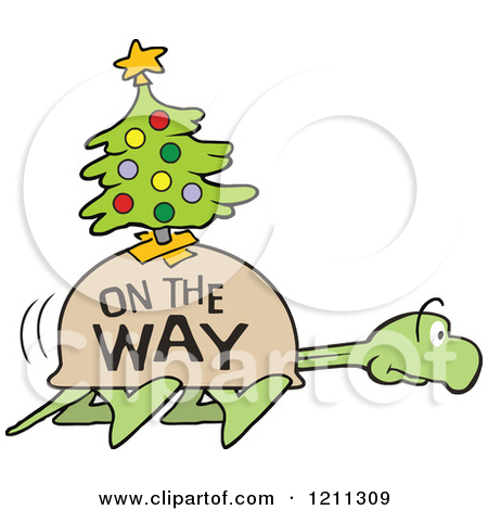 Cartoon of a Slow Tortoise with on the Way and a Christmas Tree on.