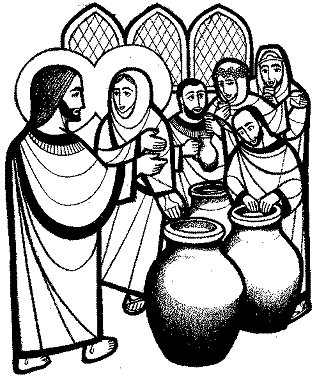 Marriage at Cana coloring page.