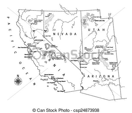 Vectors of US west coast map.