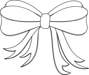 White ribbon bow clipart.