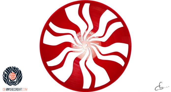 The White Stripes logo carved from a vinyl record.