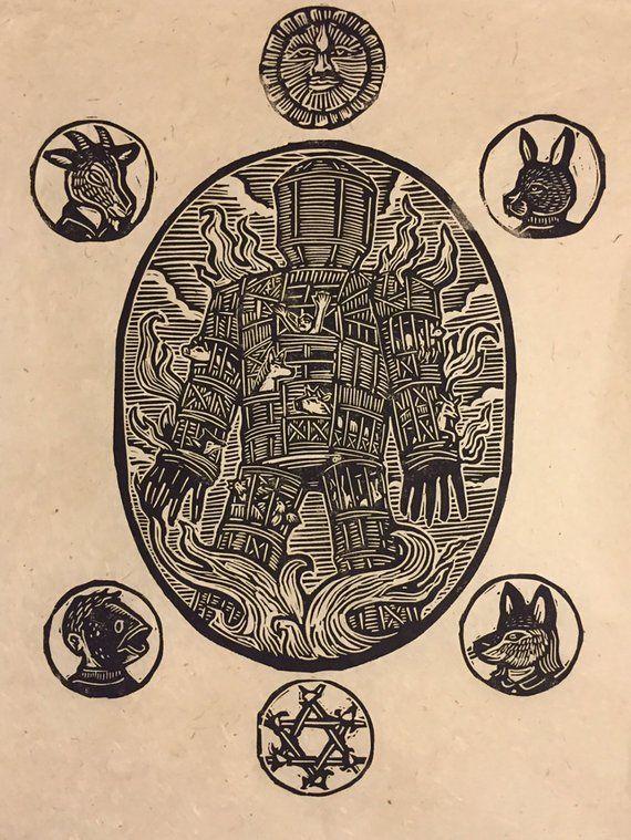 The Wicker Man Block Print.