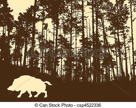 Clip Art Vector of silhouette of the wild boar in thick wood.