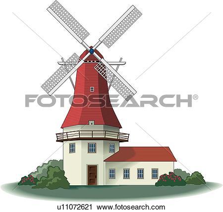 Clipart of Windmill, Holland u11072621.