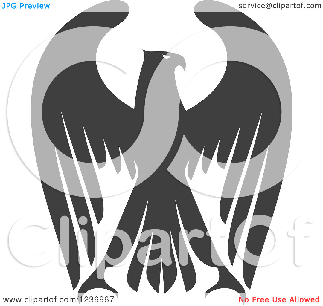 Clipart of a Gray Eagle with Outstretched Wings 3.