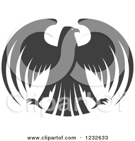 Clipart of a Gray Eagle with Outstretched Wings 2.