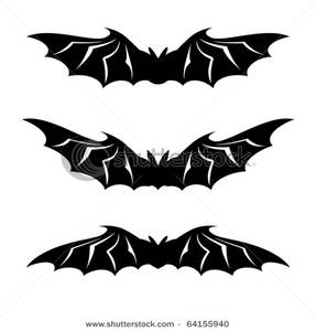 Art Image: Three Bats with Their Wings Outstretched.