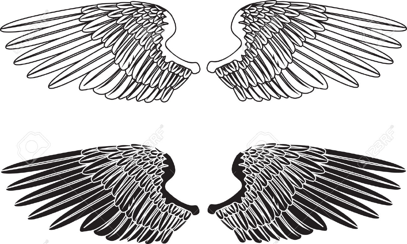 An Illustration Of Two Pairs Of Outstretched Wings Royalty Free.