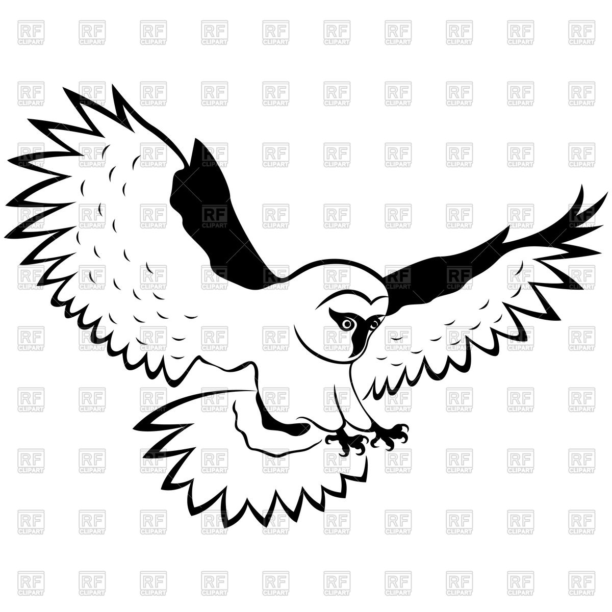 Owl in flight with outstretched wings Vector Image #96692.