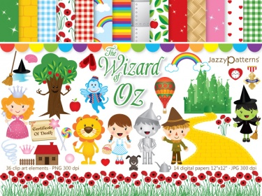 The Wonderful Wizard of Oz clipart and digital paper pack.