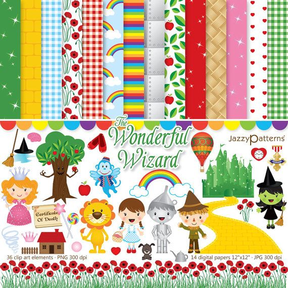 Wizard of Oz clipart and digital papers, Dorothy, flying.