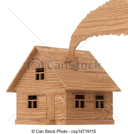 Clipart of toy wood house isolated.