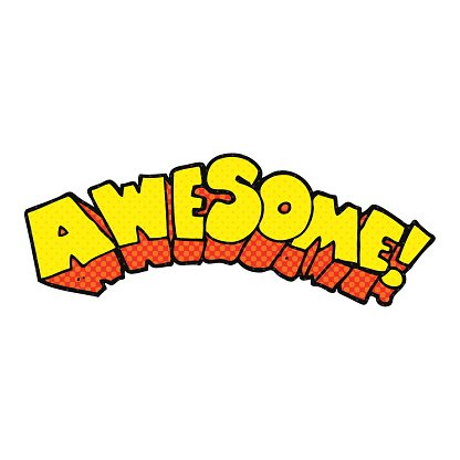 Cartoon Word Awesome premium clipart.