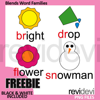 Free Blends Clip Art (word families clipart) beginning blends br, dr, fl, sn.