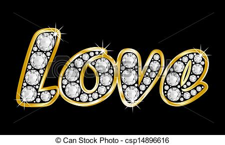 Clipart of Love, the word composed with diamonds and a golden.