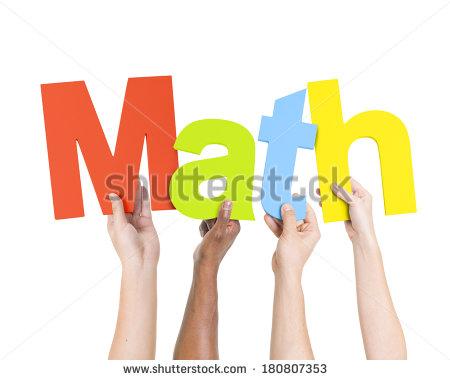 Multi Ethnic People Holding Word Math Stock Photo 180807353.