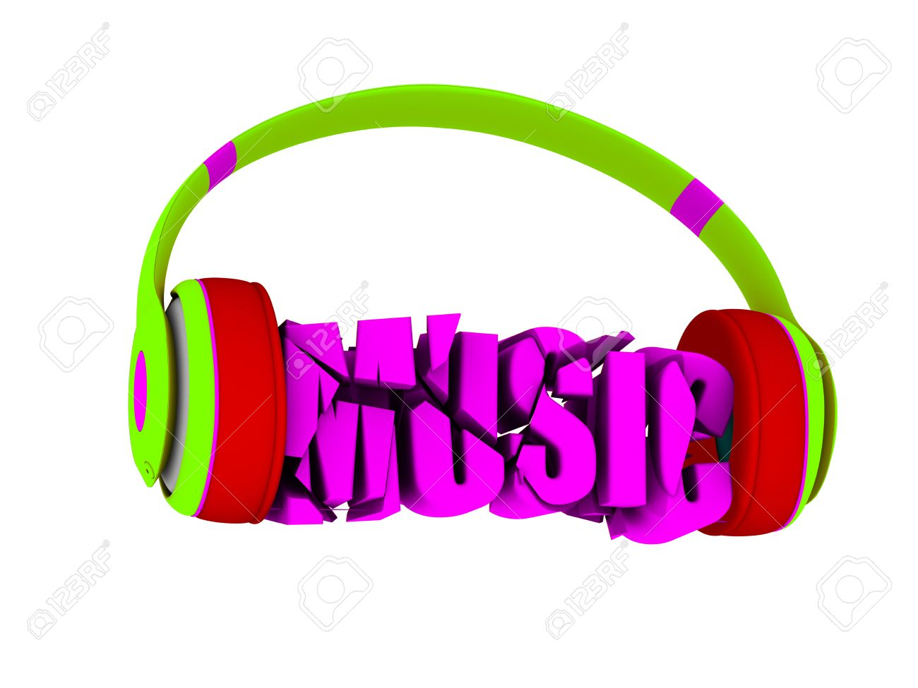 Stylish Headphones In Bright Colors, And The Word Music. For.